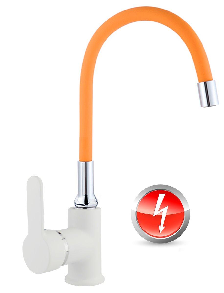 Niederdruck Spültischarmatur FLAMINGO Küchenarmatur Armatur Küche  weiss-orange