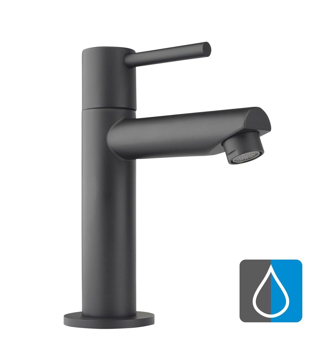 Kaltwasser Armatur Standventil Wasserhahn Waschtisch Einhebel Gäste-WC  schwarz
