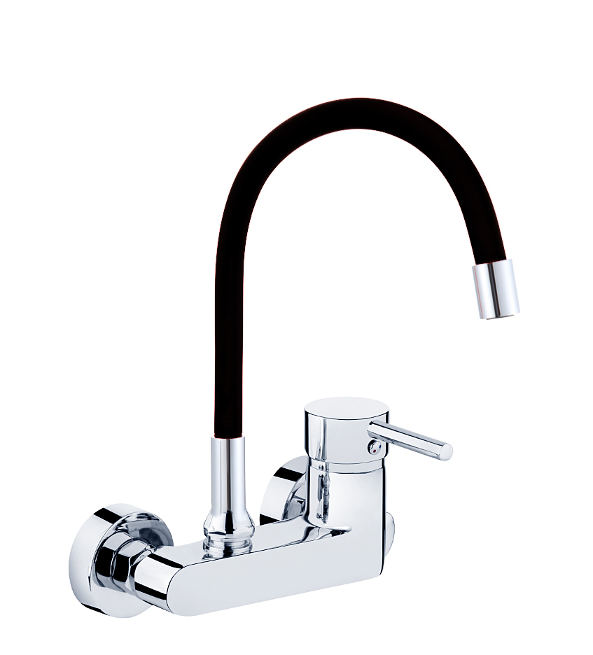 Wandarmatur EHM Armatur Küche Spültischarmatur Küchenarmatur Wasserhahn  schwarz