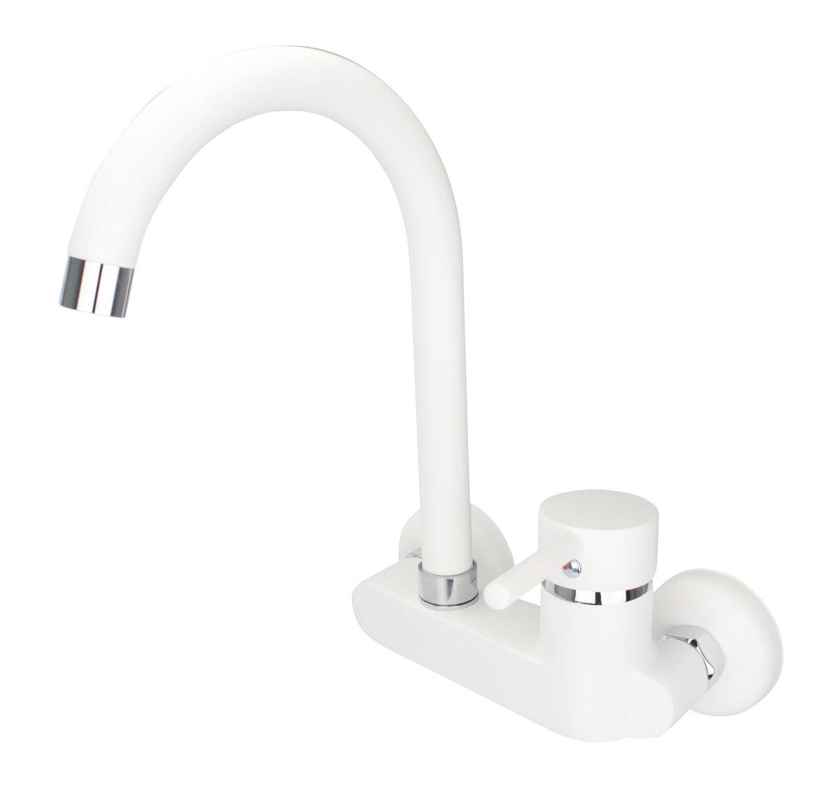 ATCO® RUBY Wandarmatur Küche Spültischarmatur Armatur Wasserhahn Einhebel  weiss