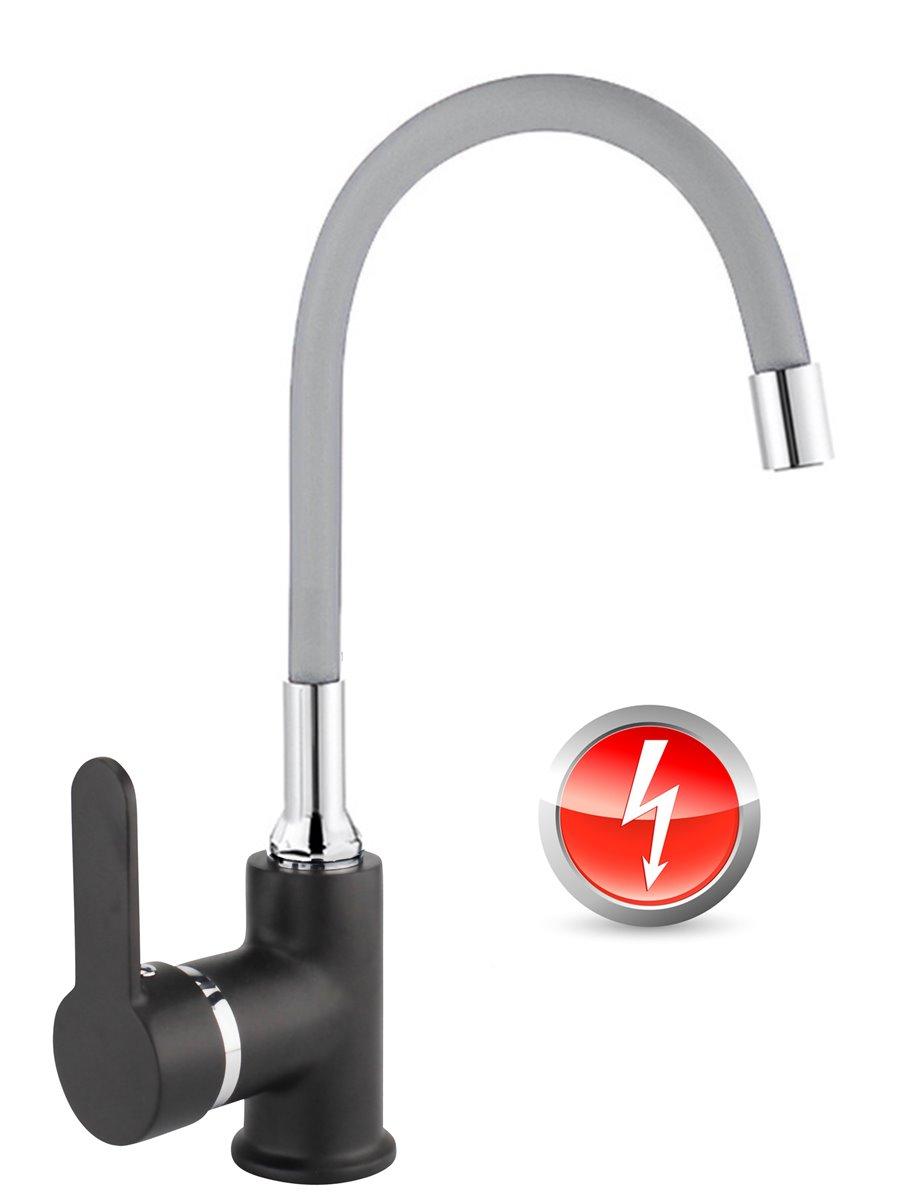 Niederdruck Spültischarmatur FLAMINGO Küchenarmatur Armatur Küche  schwarz-grau