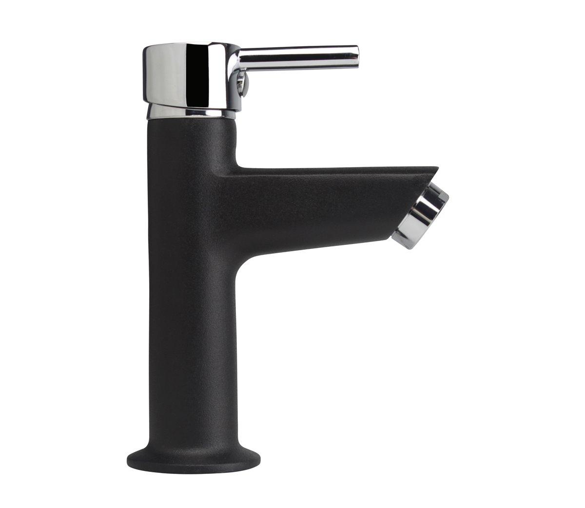 Kaltwasser schwarz/chrom Armatur Standventil Wasserhahn Waschtisch Einhebel  Gäste-WC